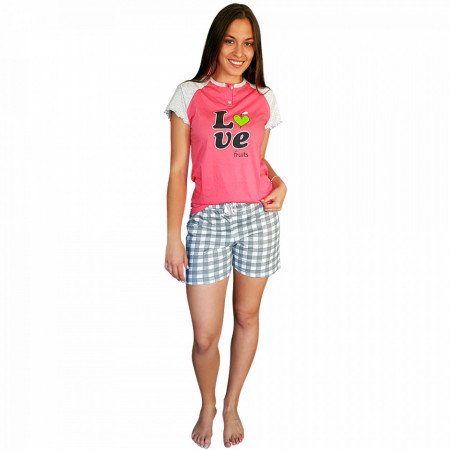 Pijamale Dama Bumbac, Senso, Model 'Love Fruits' Pink
