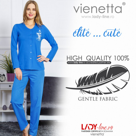 Pijamale Dama cu nasturi Vienetta, 'Elite ... is Cute' Blue