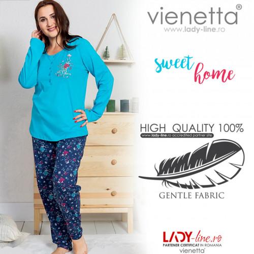 Pijamale Dama din Bumbac Marimi Mari Vienetta Model 'Sweet Home' Blue