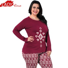 Poze Pijamale Dama Maneca Lunga, Model Love For Tradition, Producator Sexen Woman, Material Bumbac 95%, Culoare Visiniu, Pijamale Dama De Calitate