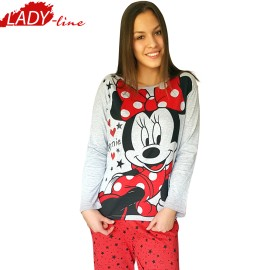 Poze Pijamale Dama Maneca Lunga, Model Minnie Mouse, Producator Disney, Bumbac 92%, Culoare Rosu/Gri, Pijamale Minnie Mouse Adulti