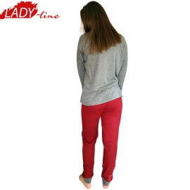 Poze Pijamale Dama Maneca Lunga, Model So Happy, Brand Italian Fashion Design, Material Bumbac 100% Interlock, Culoare Gri/Visiniu, Pijamale Dama Calitate 100%