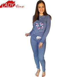 Poze Pijamale Dama Maneca Lunga si Pantalon Lung, Material Bumbac 100%, Model 'Fashion BLue', Brand Senso, Culoare Albastru, Pijamale Import Italia