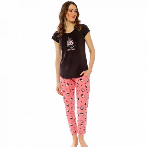 Pijamale Dama Maneca Scurta Pantalon Lung Vienetta Pink Model 'It's Time to Sleep'