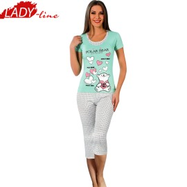Poze Pijamale Dama Maneca Scurta si Pantalon 3/4, Model Polar Bear Save Our Earth, Producator Moda Love Homewear, Bumbac 95%, Culoare Vernil, Pijamale Dama Vara