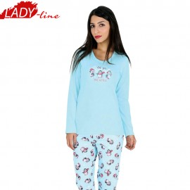 Pijamale Dama, Material Bumbac 100%, Culoare Albastru, Producator Vienetta Secret, Model All You Need Is Snow, Pijama Dama Vienetta