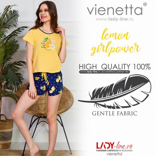 Pijamale Dama Vienetta Bumbac 100%, 'Lemon Girl Power'