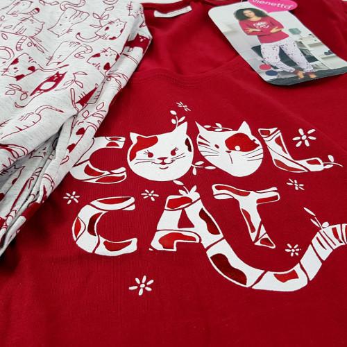 Pijamale Dama Vienetta, Model 'Cool Cat' Burgundy