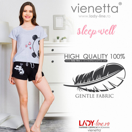 Pijamale Dama Vienetta 'Sleep Well' Culoare Gri