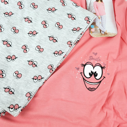 Pijamale Dama Vienetta, 'Smile, Fun & Happiness' Pink