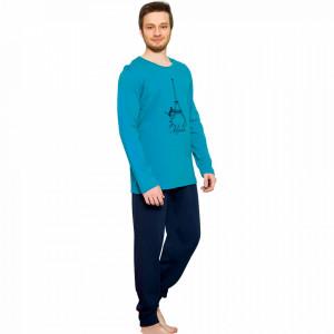 Pijama Barbati Gazzaz by Vienetta, 'Oh Lala' Turquoise