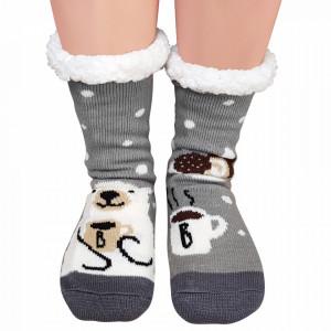 Ciorapi Imblaniti si Caldurosi Lady-Line Model 'Coffe Break' Gray