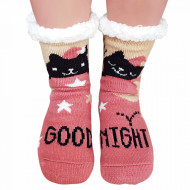 Ciorapi Imblaniti si Caldurosi Lady-Line Model 'Good Night Kitty' Mineral Pink