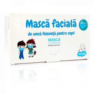 Masca Faciala cu 3 Straturi pentru Copii Flippy Culoare Albastru Cutie 50 Bucati