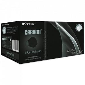 Masca Medicala Neagra cu 4 Pliuri, Carbon 4-PLY Cranberry, Cutie 50 Bucati