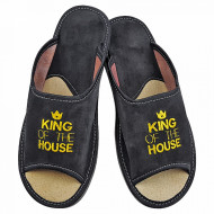 Papuci de Casa Barbati, Talpa Groasa, Culoare Gri, Model 'King of the House'
