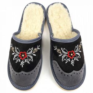 Papuci de Casa din Piele Intoarsa Imblaniti cu Lana Model 'London Brogue Inspire' Dark