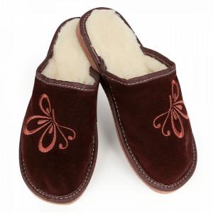 Papuci de Casa din Piele si Lana de Oaie Culoare Maro Model 'Zbor Liber'
