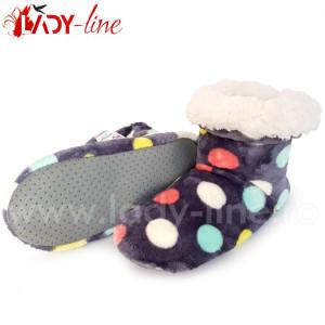 Papuci de Casa Tip Cizmulite, Colour Dots, Papuci Interior Imblaniti