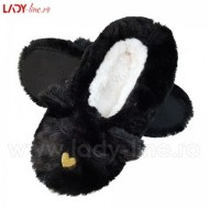 Papuci de Casa Tip Saboti, 'Sleeping Kitty' Black