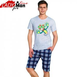 Pijama Barbati Maneca Scurta Pantalon 3/4, Model Crazy Frog, Material Bumbac 100%, Culoare Gri/Carouri, Brand Gazzaz by Vienetta, Pijamale Barbati Vara