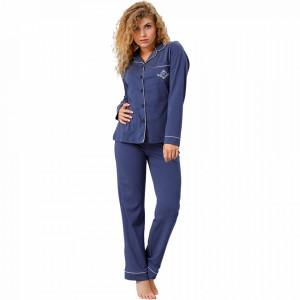 Pijama cu Nasturi Dama M-Max, Bumbac 100%, 'Aristocratic Night'