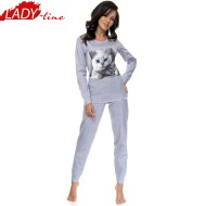 Pijama Dama Maneca Lunga, Model Cute Kittens - Light Gray, Brand DN NightWear, Material Bumbac 100%, Culoare Gri, Pijamale Dama Din Bumbac De Calitate
