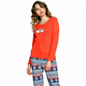 Pijama Dama Vienetta, Bumbac Interlok, 'You Make Me Happy' Red