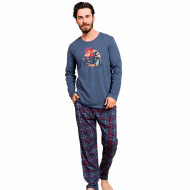 Pijamale Barbati Bumbac 100% Gazzaz by Vienetta 'Born to Ride' Gray