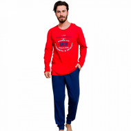 Pijamale Barbati din Bumbac 100% Gazzaz by Vienetta 'Good Looking Nativ' Red