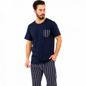Pijamale Barbati din Bumbac 100% Gazzaz by Vienetta Model 'Elite Steel'