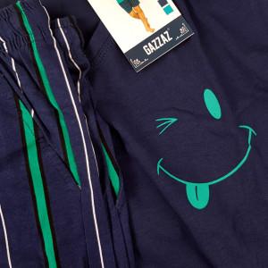 Pijamale Barbati din Bumbac 100% Gazzaz by Vienetta Model 'Smile & Wink' Blue