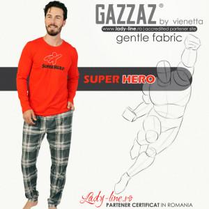 Pijamale Barbati din Bumbac 100% Gazzaz by Vienetta Model 'Super Hero' Red
