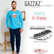 Pijamale Barbati din Bumbac Gazzaz by Vienetta 'Peace - Be Happy' Blue