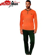 Pijamale Barbati Maneca Lunga, Material Bumbac 100%, Culoare Orange/Verde, Model DNX Green Motion, Producator Donex HomeWear, Pijamale Barbatesti