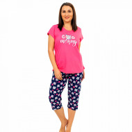 Pijamale Confortabile Marimi Mari Vienetta Model 'Good Morning' Fucsia