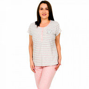 Pijamale Confortabile Marimi Mari Vienetta Model 'Sweet Pop' Pink Melange
