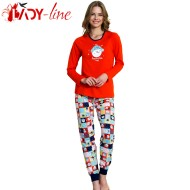 Pijamale Dama Bumbac 100%, 'Awesome Today' Red, Vienetta Secret