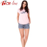 Pijamale Dama, Bumbac 100%, 'Sweet Kitty' Pink