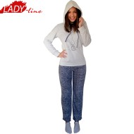 Pijamale Dama Calduroase Maneca Lunga, Model Flying Elephant, Producator Benter Fashion Wear, Material Micropolar, Culoare Gri, Pijamale Calduroase Dama Maneca si Pantalon Lung