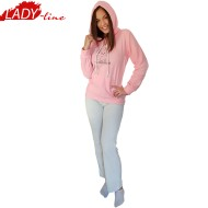 Pijamale Dama Calduroase Maneca Lunga, Model Welcome, Producator Benter Fashion Wear, Material Micropolar, Culoare Roz/Gri, Pijamale Calduroase Dama Maneca si Pantalon Lung