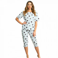 Pijamale Dama Confortabile Vienetta Pantalon 3/4 Model 'Happy Dots'