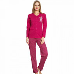 Pijamale Dama cu nasturi Vienetta, 'Elite ... is Cute' Burgundy