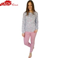 Pijamale Dama Iarna, Material Bumbac Interlock 100%, Model Beauty Rose, Brand Senso, Culoare Gri/Roz, Pijamale Import Italia