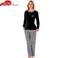 Pijamale Dama Iarna, Model Love Black, Producator Fawn, Interlock Bumbac 100%, Culoare Negru, Pijamale Dama Maneca si Pantalon Lung