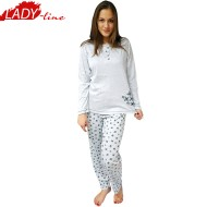 Pijamale Dama Maneca Lunga, Model Gray & Bright Flowers, Producator Dehai-T, Bumbac 100%, Culoare Gri, Pijamale Dama Maneca si Pantalon Lung