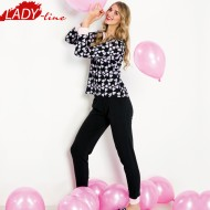 Pijamale Dama Maneca Lunga, Model Joy Of Love, Brand Italian Fashion Design, Material Bumbac 100% Interlock, Culoare Negru/Roz, Pijamale Dama Calitate 100%