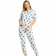 Pijamale Dama Maneca Scurta Pantalon Lung Vienetta Model 'Happy Dots'