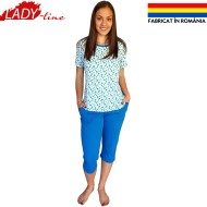 Pijamale Dama Maneca Scurta si Pantalon 3/4, Model 'Green & Blue Dots', Producator Ana Art Textil, Bumbac 100%, Culoare Albastru, Pijamale Fabricate In Romania