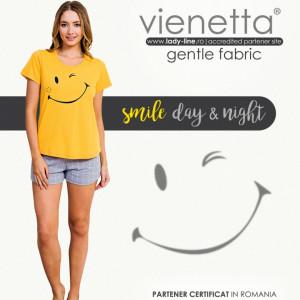 Pijamale Dama Manesca Scurta Pantalon Scurt Vienetta Model 'Smile Day & Night'